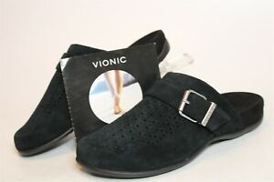Vionic NEW Moca Womens 8 39 Black Perforated Suede Mules Slippers Comfort Shoes