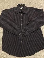 Pronto Uomo Mens black & purple striped button up long sleeve dress shirt size L