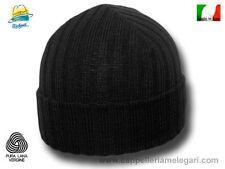 Cappello cuffia Cuculo pura lana costa media nero