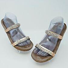 Mephisto Womens Ivana Rose Gold Jeweled Leather Sandal Slide Size EUR 40 US L 9