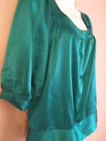 GUESS AUTHENTIC BRAND Womens Size Small Green Teal Short Sleeve 95 % Silk Blouse