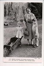 Vintage Postcard Queen Elizabeth The Queen Mother, Prince Charles & Princess Ann