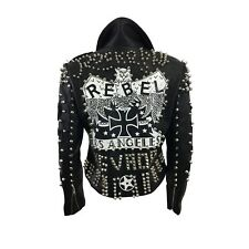 Wanted Rebel Black Faux Leather Moto Jacket with Studs and Patches Size Medium