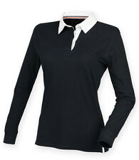 Front Row Ladies Womens Super Soft Long Sleeve Rugby Polo Sailing Shirt Black XXL