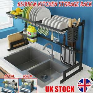 UK Over Sink Dish Drying Rack Stainless Steel Bowl Drainer Shelf Utensils Holder