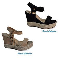 Scarpe da donna sandali con zeppe alte in sughero e plateau beige 39 40