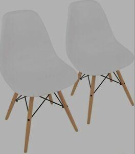 Set of 2 UrbanMod Mid Century Easy Assemble Chairs w ErgoFlex ABS Plastic