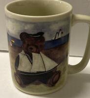 Vintage Otagiri Teddy Bear On Beach w/Sailboat Coffee Mug Cup 9 Oz Japan