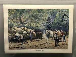 "Vintage Jimmie Abeita ""Breaking Camp"" Art Poster"