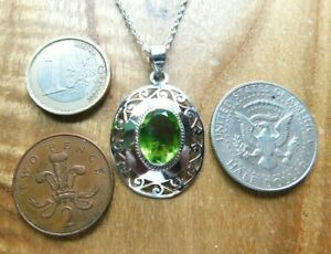 Sterling Silver and Peridot Necklace August Birthstone
