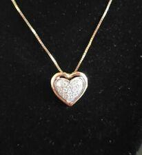 14k Gold Diamond Heart Pendant Box Chain Necklace