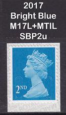 2017 Machin 2nd Class Bright Blue SG U3013 M17L+MTIL Mint SA SBP2u Booklet Stamp