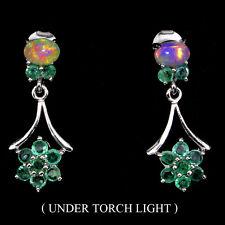 Natural GEM Top Rich Green Emerald ,Fire Opal 925 Sterling Silver DROP Earrings