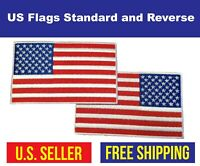 """AMERICAN FLAG EMBROIDERED Iron-On PATCH 5"""" x 3"""" White BORDER USA Patriot"""