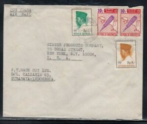 INDONESIA Commercial Cover Surabaya to New York City 15-7-1967 Cancel