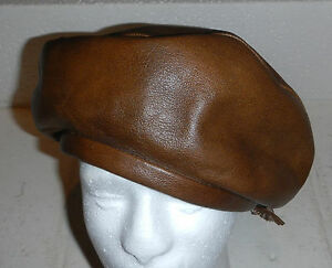 Vintage YVES SAINT LAURENT YSL Brown Leather Beret Hat Cap with Bow Tie Accent