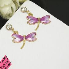 New Betsey Johnson Purple Enamel Cute Dragonfly Crystal Stand Earrings Gift