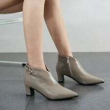 Women's Ankle Boots Synthetic Leather Shoes Block Mid Heels Side Zipper Pumps