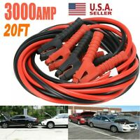 3000AMP 0 Gauge Booster Cables Jumper Leads Heavy Duty Car Van Clamps Start 20FT