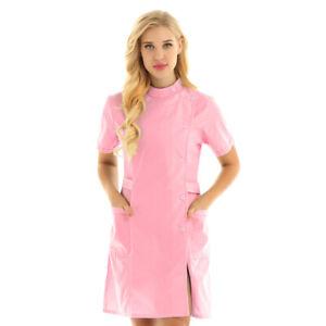 Women Medical Hospital Cosplay Uniform Doctor Nurse Dress Coat Scrubs Lab Top