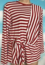 URBAN BLISS 10 BNWT Red White Stripe 'Deena' Jersey Knot Front Tunic Top