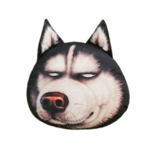 Husky Pillow Cushion 3D Emoticon Plush Toy Doll Simulation Dog Head Pillow Gift