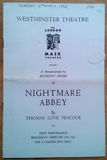 Nightmare Abbey programme Westminster Theatre 1952 Harold Goodwin Gerald Cross