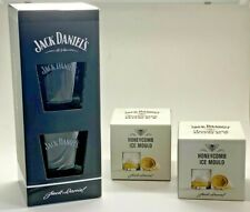 TWIN PACK OF JACK DANIELS GLASSES + 2 TENNESSEE HONEY ICE MOULDS - PUB BAR PAIR