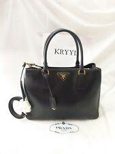 NEW Prada Saffiano Lux Center Zip Tote Shoulder Bag Handbag, BN1874, Black
