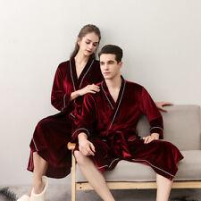 Men Women Winter Long Robe New Flannel Sleepwear Bathrobe Night-robe Soft Pajama