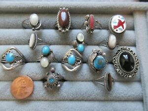 15  VINTAGE SOUTHWEST RINGS TURQUOISE SILVER  CORAL SZ 6-7