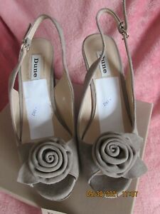 WOMEN DUNE PLATFORM  SLINBACK SUEDE LEATHER SHOES TAUPE  SIZE 6 NEW WITH BOX