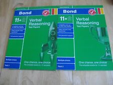 2 x BOND 11+ TEST PAPERS VERBAL REASONING MULTIPLE CHOICE 8 TEST PAPERS ANSWERS