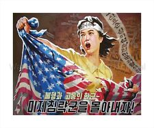 "North KOREA Propaganda Poster On Canvas Print RIPPING US FLAG 8x10"""