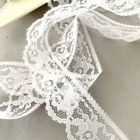 Vintage White Floral Lace Trim On Bridal Tulle W Scallop Edge 35mm No Stretch