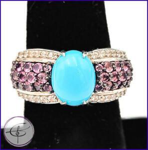 Turquoise Pink Tourmaline & White Topaz Sterling Silver 925 Gemstone Ring Sz 7