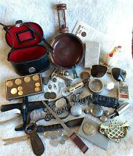 Premium Junk Drawer Lot Vtg Aviator Sunglasses Tokens Car Badge Dime Holder Dish