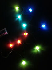 Red Green Blue Yellow 10 LED Round Lights Battery Power 2-AA DIY Project Wreath