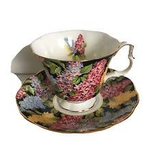 Royal Albert CYNTHIA Lilac Floral Cup & Saucer Set. Fine Bone China. England.