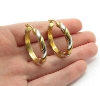 925 Sterling Silver - Two Tone Gold Plated Twist Designed Hoop Earrings - E7796