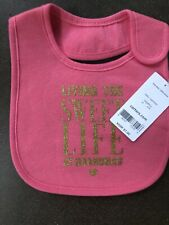 Girls Living the Sweet Life At Grandma's  Bib Pink Gold NEW NWT Carter's Velco