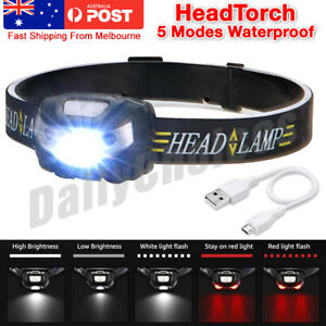 Waterproof Head Torch Rechargeable LED Headlamp Flashlight USB Camping Fish CREE