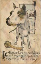 Great Dane Dog w/ Bone - Comic c1915 Postcard