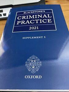 Blackstone's Criminal Practice 2021: Supplement 1. Brand New.