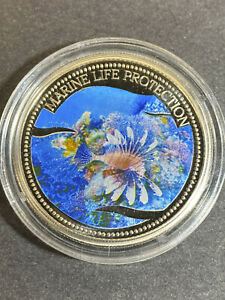 2005 Republic of Palau $1 Colorized Coin Marine Life Protection Lion Fish