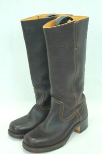 FRYE CAMPUS 14L 77050 WOMEN'S BROWN TALL LEATHER SQUARE TOE BOOTS SIZE 6 VGC!