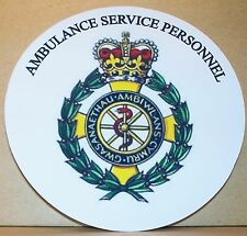 Ambulance Service Personnel Wales vinyl sticker.