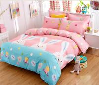 Rabbit Print Pink Bedding Set Duvet Quilt Cover+Sheet+Pillow Case Four-Piece HOT