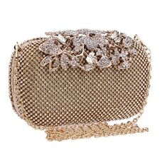 Gold Crystal Studded Box Clutch Bag Flower Clasp Weddings, Bridal, Party, Prom