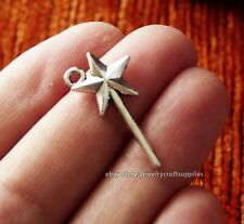 10pcs Magic Wand Star Charms for Bracelet Fairy Pendant Necklace Supplies Silver